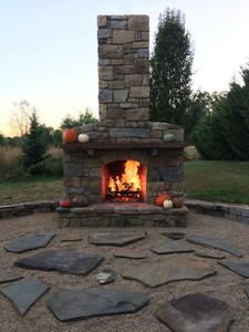 Fireplace built by Jim Roepke, stonemason