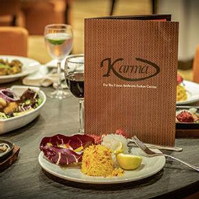 Karma Whitburn restaurant table with menu