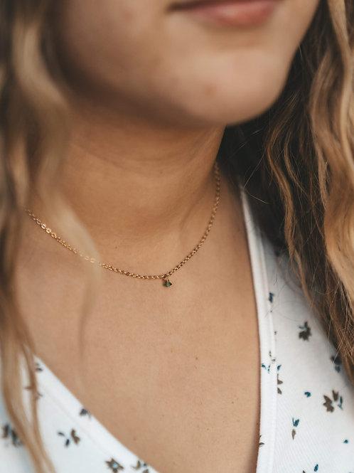 Tiny Raw Emerald Stone Necklace