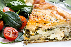 Delicious spinach and feta cheese pie, with filo pastry.  Traditional Greek spanakopita, w