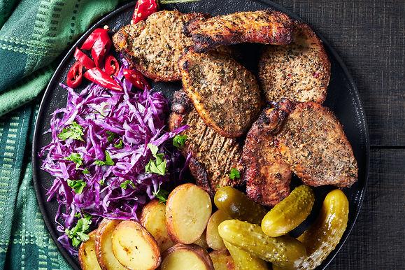 Grilled boneless pork chops with crispy