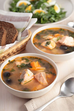 Solyanka, Russian soup with salmon and olives.jpg