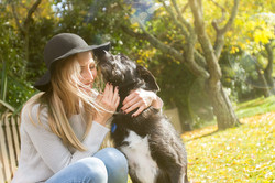 outdoor portrait of a lady with dog