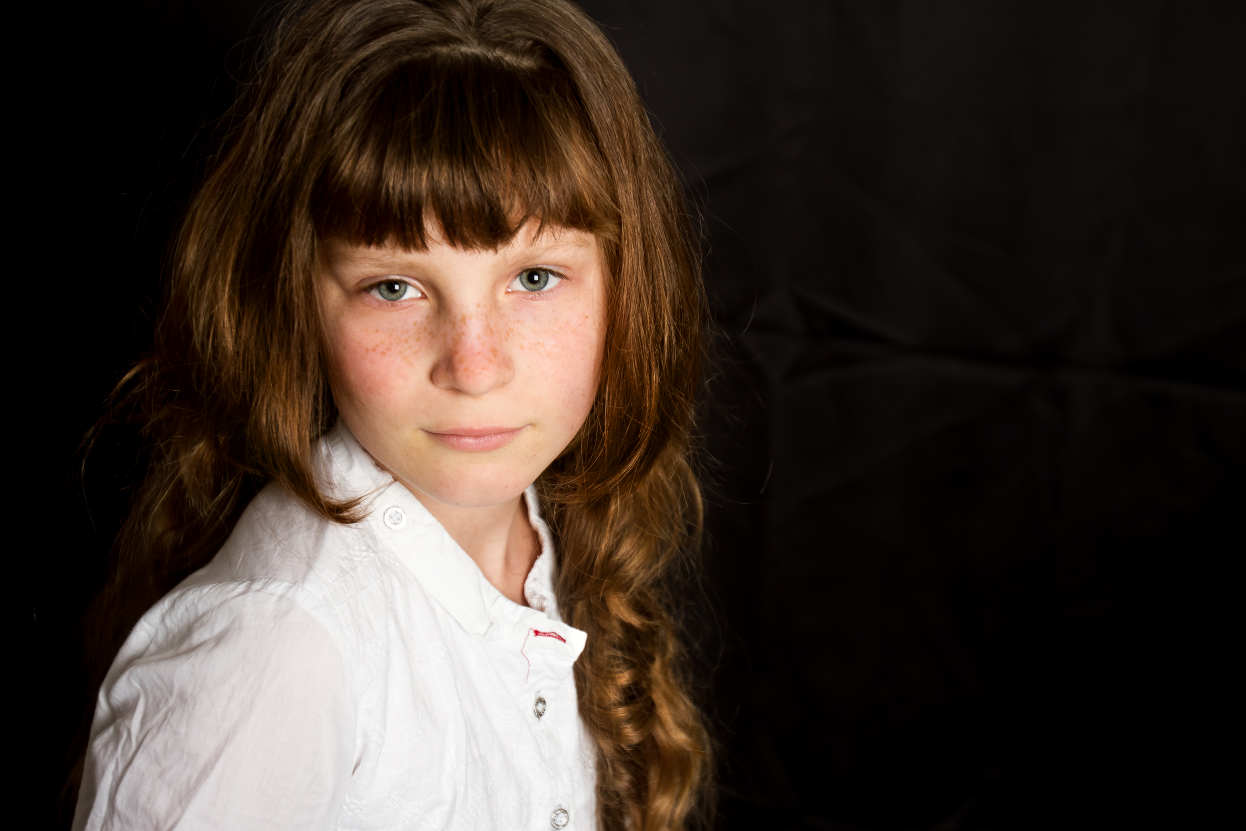 studio portrait of a child girl