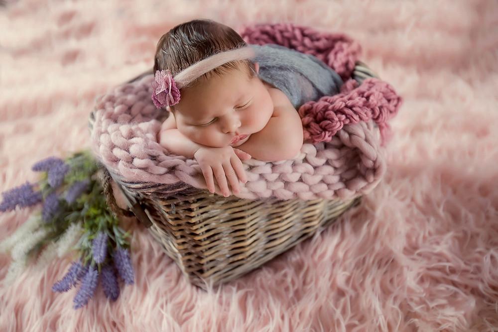 newborn photography, studio portrait of newborn girl