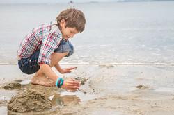 outdoor portrait of happy child boy