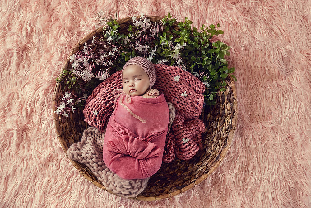 studio photo of a baby girl, newborn photography