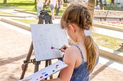 outdoor portrait of painting girl