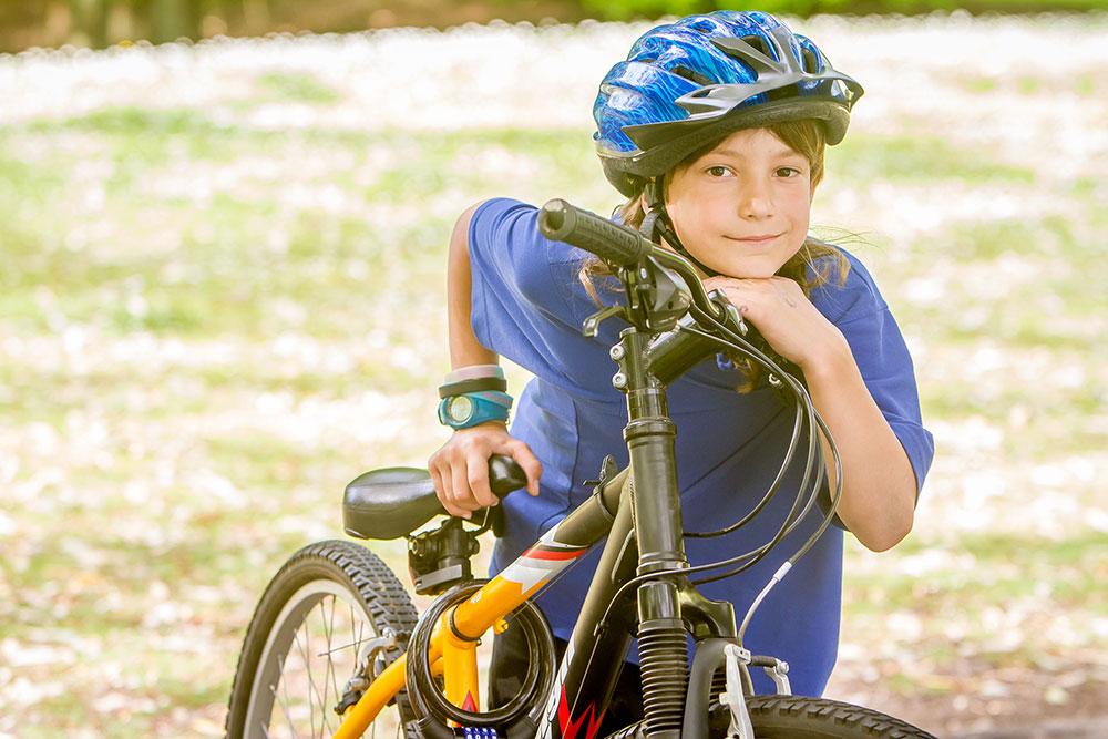 child boy with a bike