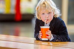 child boy in a cafe