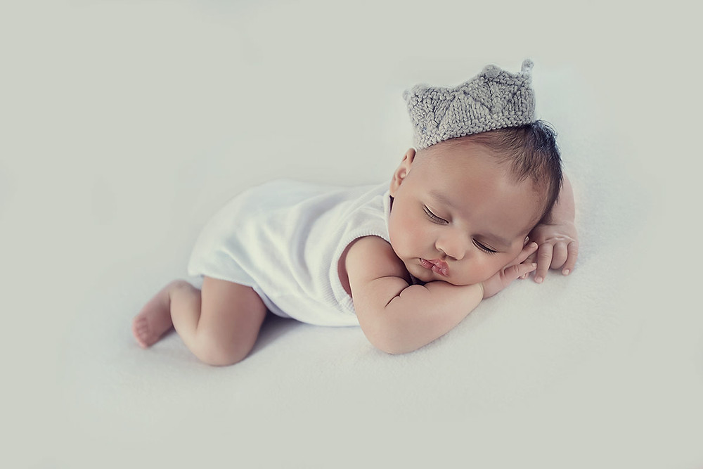 studio photo of newborn boy, newborn photography