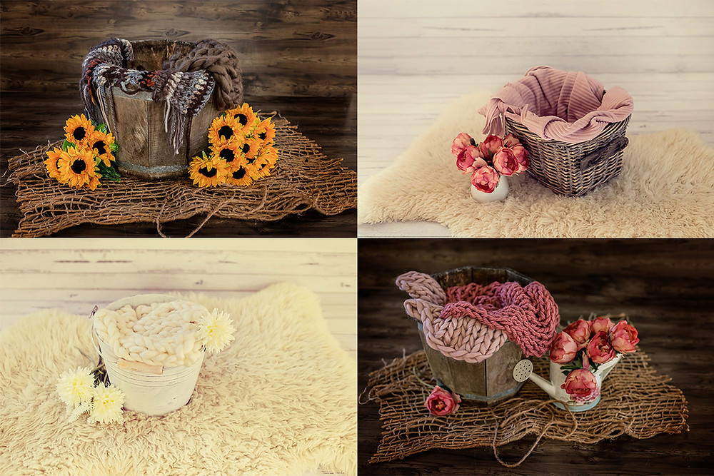 various setups for newborn photography