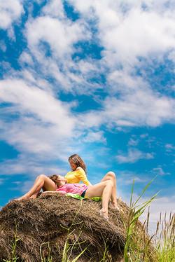 outdoor portrait of 2 girls