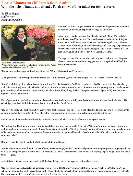 Newspaper article about the creation of Chrysila.
