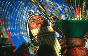 Flute player in Bolivia