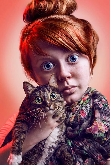 Giant eyes surreal crazy cat lady advertising photography