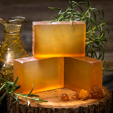 soap bar and ingredients with honey