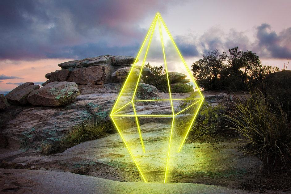Neon Diamond shape in southwest landscape