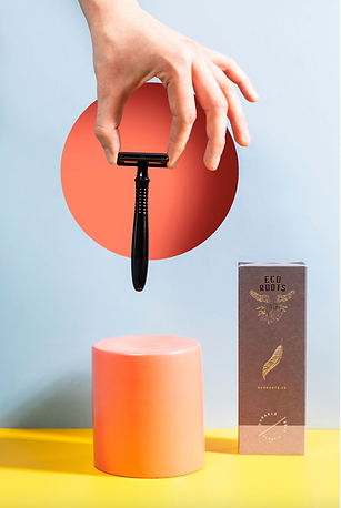 paper cut out product photography of refillable razor