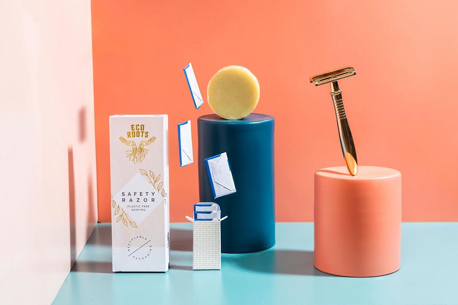 levitation modern minimal design product photography of razor and refillable blade kit