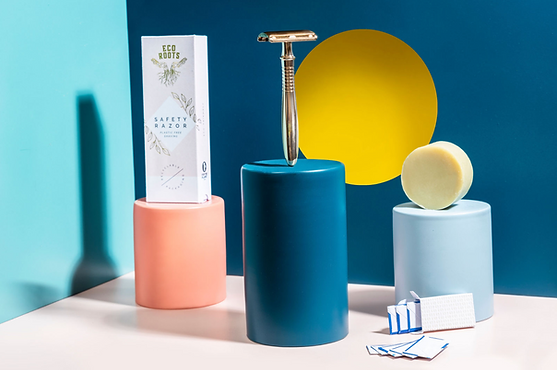 minimal design composition of razor blade gold set product photography