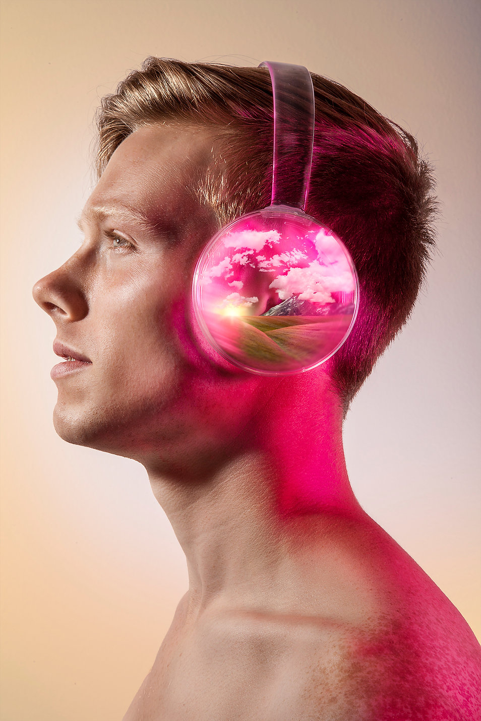 audio book music headphone landscape composite conceptual commercial advertising photography