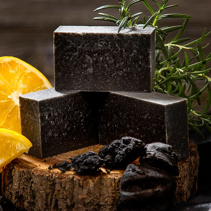 product photo of ingredient with lemon and charcoal soap