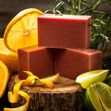 blood orange scented soap bar and ingredients