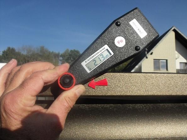 Messung einer Pulverbeschichtung auf Stahluntergrund