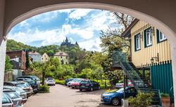 Hotel Am Anger Blick auf das Schloss