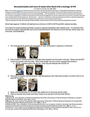Decontamination and reuse of masks when