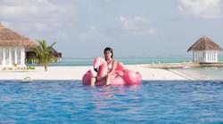 Enjoying resort in Maldives