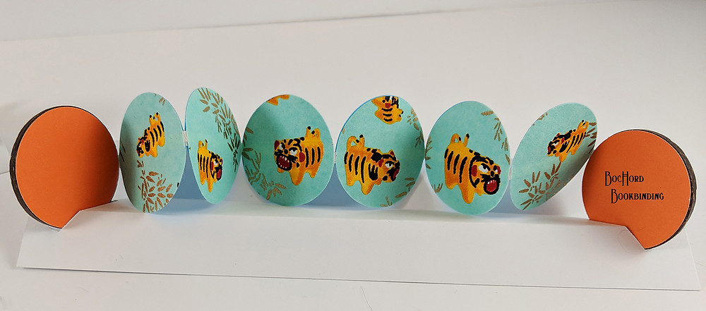 Button Book featuring Tiger Chiyogami Paper