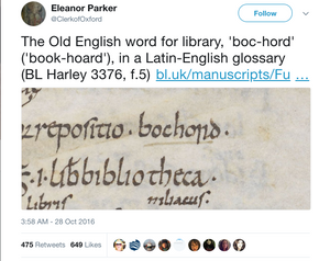 Tweet from Eleanor Parker explaining the word bochord is Old English for Library or a book hoard.