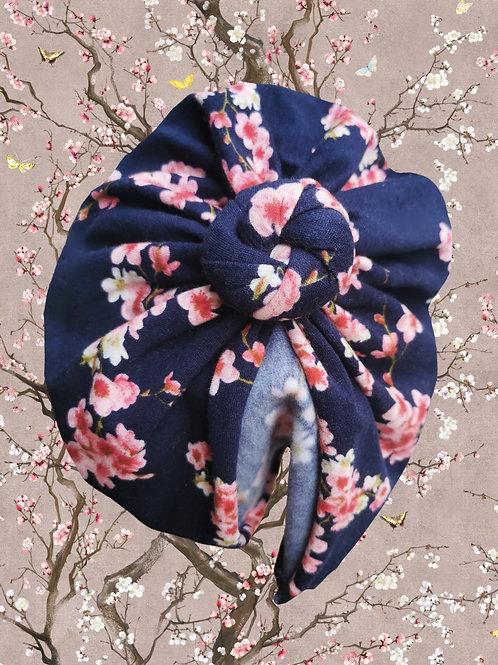 Blue Cherry Blossoms (coton jersey gratté bio)