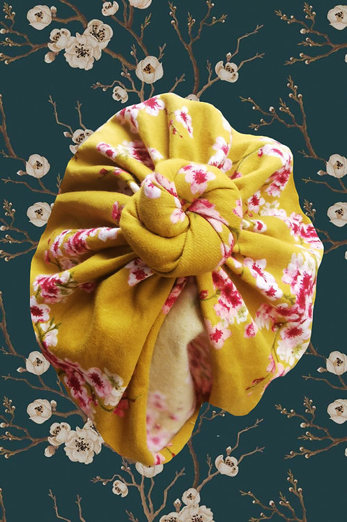 Mustard Cherry Blossoms (coton jersey gratté bio)