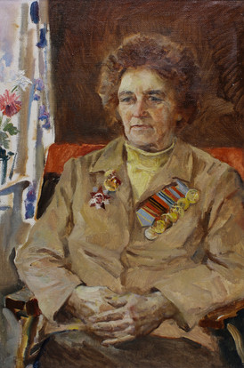 Портрет участника ВОВ Шурыгиной М.Г. х.м. 60х40, 1983 г. А.Д. Лукашенок