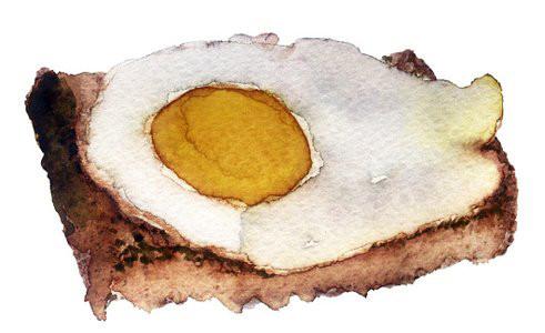 Яичница на кусочке хлеба