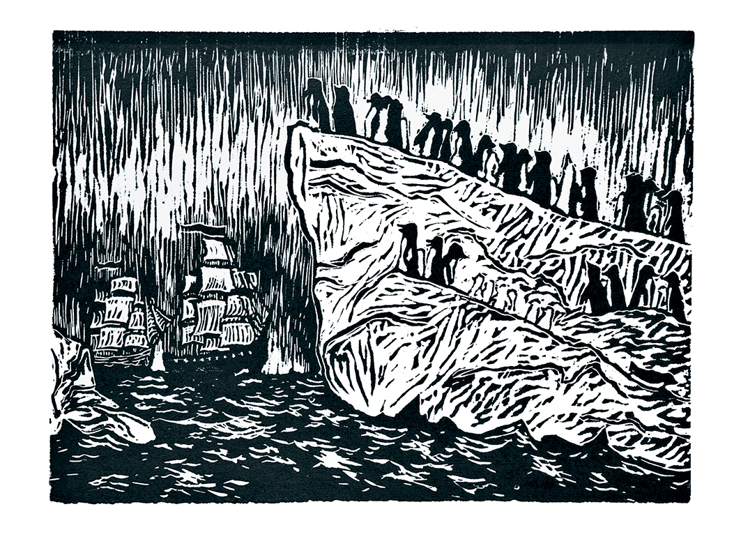 2 ДХШ Аникушина Белякова Дарья 14 лет Восток и Мирный во льдах Антарктиды линогравюра