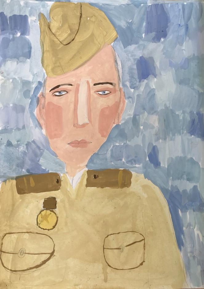Дарья Перминова 7 лет, Портрет солдата. Преподаватель Островская Ж.Н.