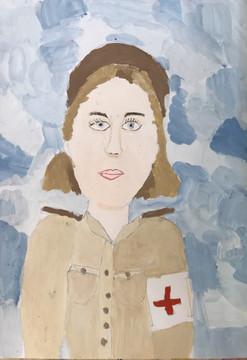 Анастасия Шпиганович 7 лет, Портрет военной медсестры. Преподаватель Островская Ж.Н.