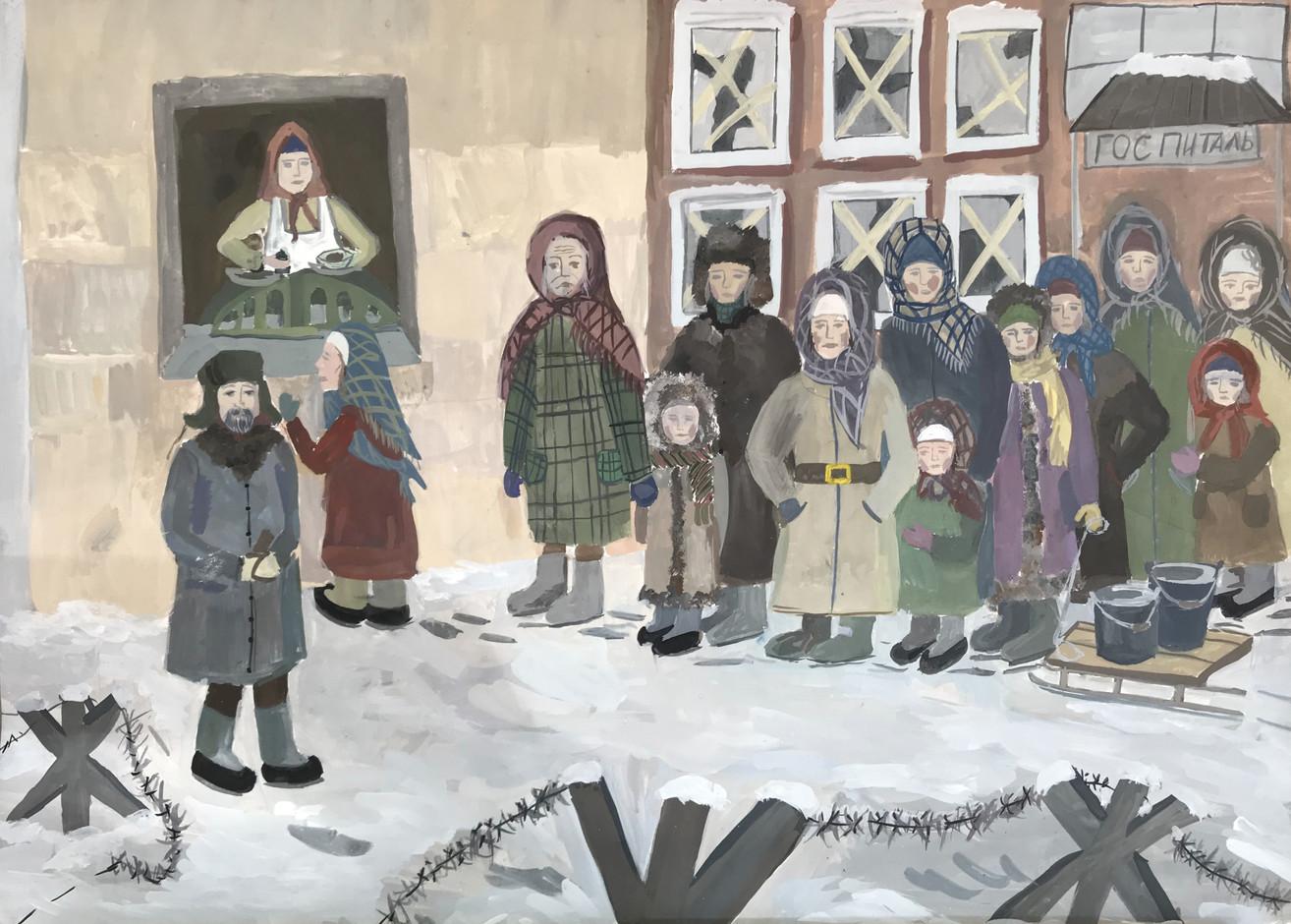 Маргарита Яскова 11 лет, В очереди за хлебом. Преподаватель Серова Н.Ю.