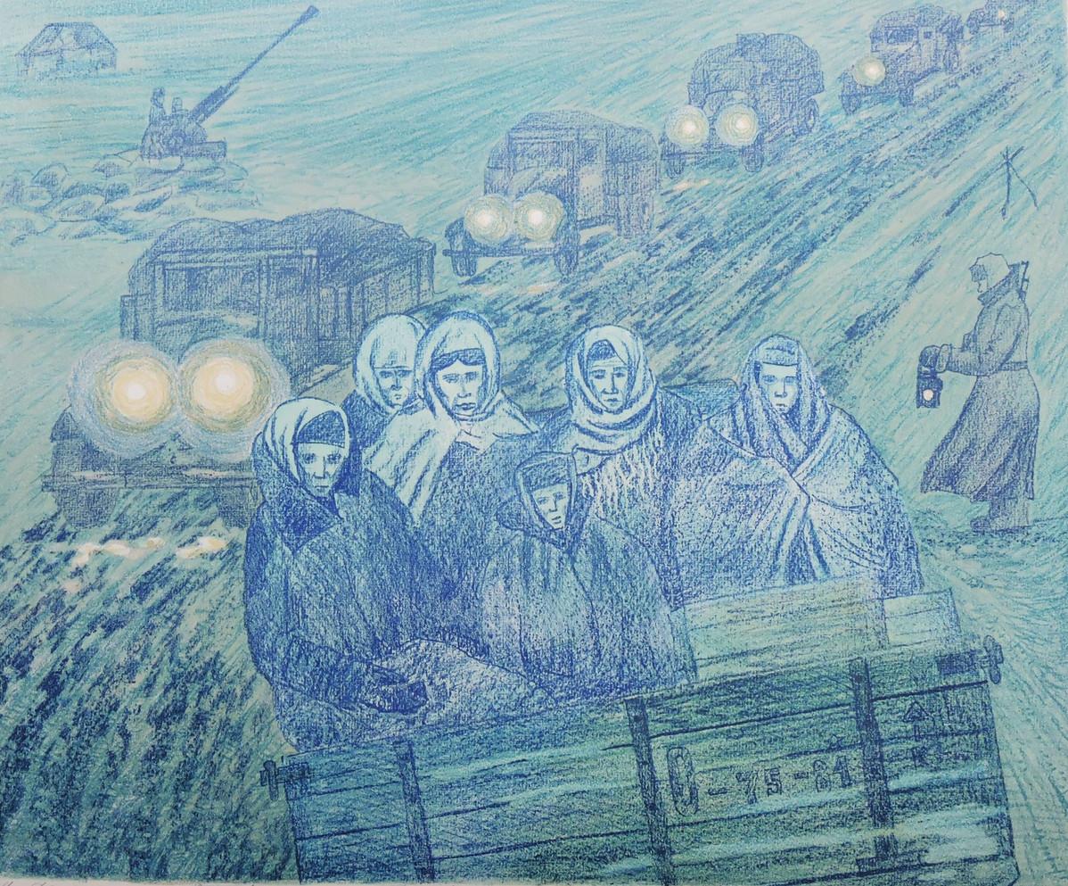 "Ладога. ""Из серии Ленинград - 42""  42х61, б., литография. О.Г. Кукушкин"