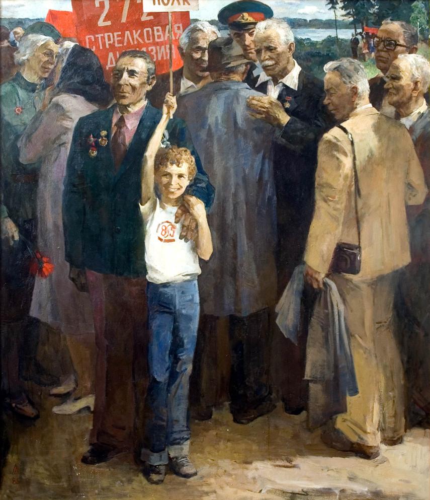 Групповой портрет ветеранов Карельского фронта.  х.м. 197х170, 1985 г. А.Д. Лукашенок