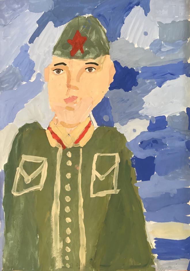 Елизавета Смирнова 7 лет, Портрет солдата. Преподаватель Островская Ж.Н.