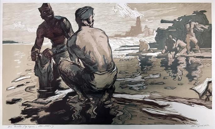На Эльбе (из серии 1941-1945 г.г.) 37х60,  цв. линогравюра 1959 г.г. В.Г. Старов