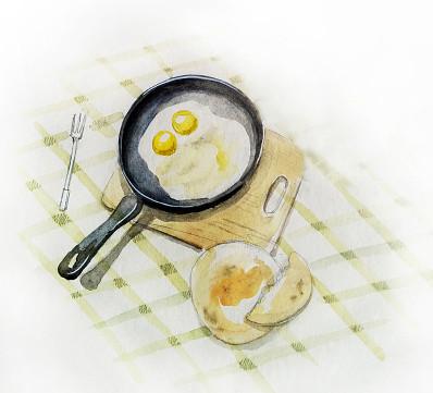 Яичница в сковородке