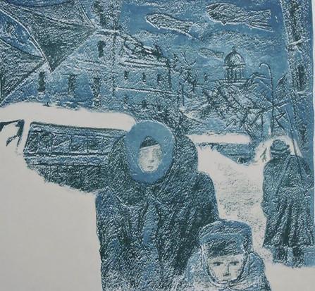 "Зима. ""Из серии Ленинград - 42""   47х50, б., литография. О.Г. Кукушкин"