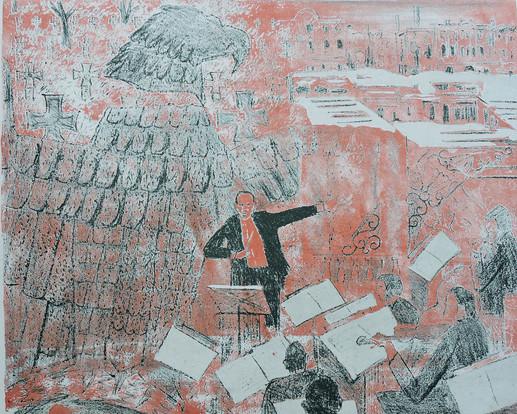 "Музыка ""Из серии Ленинград - 42""  47х52, б., литография. О.Г. Кукушкин"