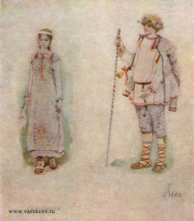 Снегурочка и Лель. Эскизы костюмов